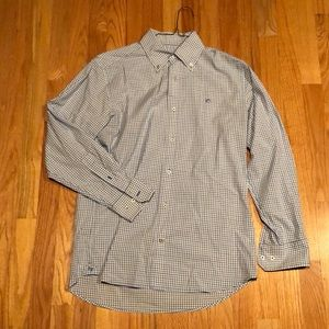 Southern tide blue and white checked button down